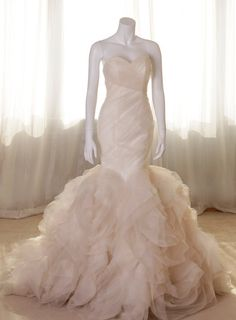 Strapless puffy tail mermaid wedding dress by LinvinaBridal, $586.00
