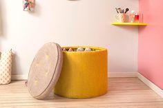 Puff Sapateira Kinder - Amarelo e Cinza