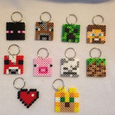 Minecraft keychains perler beads by the_creative_peach