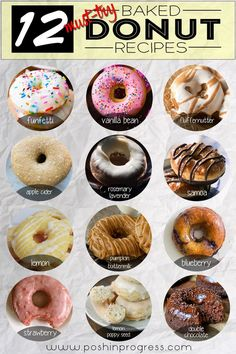 12 Must-Try Baked Donut Recipes Stacey shares 12 baked donut recipes that she wants to try since she's never made baked donuts before. She talks about free donuts for National Donut Day. No Bake Desserts, Just Desserts, Delicious Desserts, Dessert Recipes, Yummy Food, Delicious Donuts, Baking Desserts, Cake Recipes, Cake Baking