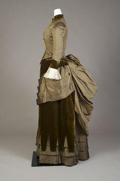 Dress, ca. 1885-1889 Ensemble of moss green silk faille and velvet. KSUM