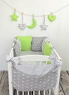 Baby Nestchen Bettumrandung 210 cm Design30 Bettnestchen Kantenschutz Kopfschutz für Babybett Bettausstattung