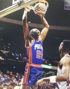 John Salley signed Detroit Pistons 16x20 Photo Detroit Basketball, First Round, Detroit Pistons, Exercise, Sports, Athletes, Nba, Blue, Ejercicio