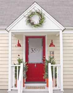 cute front porch, overhang, I love the address on the frosted glass