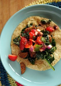 Strawberry Chipotle Sausage-Kale Tacos from Terry Hope Romero. My goodness that sounds delicious!