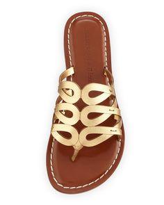 Magnolia Leather Slide Sandal, Old Gold