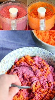 Pink hummus! Beets, chickpeas, garlic, lemon juice, tahini, agave, salt, pepper and parsley in the food processor. Blended until creamy. Then I folded in shredded carrots to give a heartier texture.