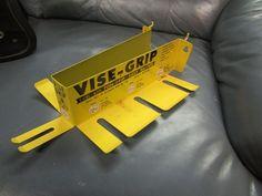 Vintage Vise Grip Yellow Store Tool Display Metal Rack Peg Board Sign