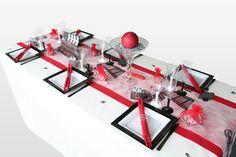 Décoration de table 'cinéma' rouge, noir et blanc
