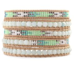 This bracelet combines small seed beads and larger pearl beads. (Amazonite and Bead Wrap Bracelet on Beige Leather.)