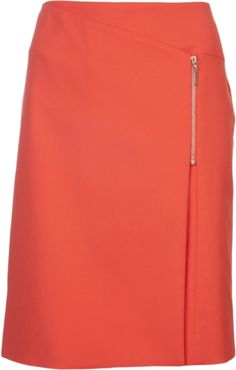 Orange skirt from Cedric Charlier featuring front layer, asymmetrical zipper, and short length.