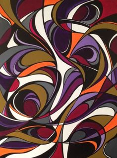 """""""The Snail"""" 36x48x1&1/2in. abstract acrylic on canvas. It is currently on display at Mid Mod Gallery in the RiNo arts district of Denver."""