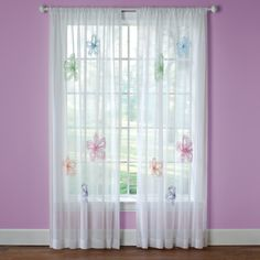 What a Frill 63-inch Applique Sheer Curtain Panel | Overstock.com Shopping - The Best Deals on Sheer Curtains