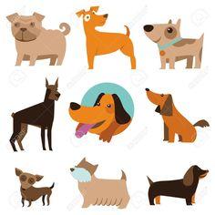 21701104-Vector-set-of-funny-cartoon-dogs-illustration-in-flat-style-Stock-Vector.jpg (1300×1300)