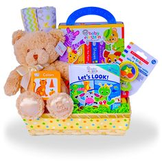 Reading with a Bear Baby Einstein Gift Basket Price: $65.00 #GiftBaskets4Baby #Neutral #gifts #giftbaskets #Baby For more information visit: www.GiftBaskets4Baby.com