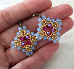 Periwinkle and Hot Pink Crystal Diamond Earrings by LainaLacy