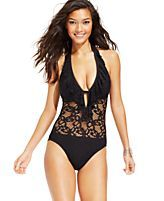 Kenneth Cole Reaction Lace Ruffled One-Piece Swimsuit