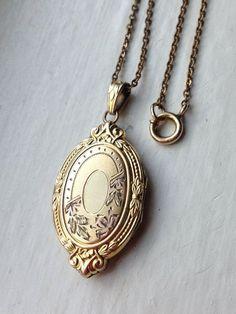 Antique Art Deco Oval Ornate Gold Filled Locket Necklace, Wedding Locket Necklace, Hayward Locket