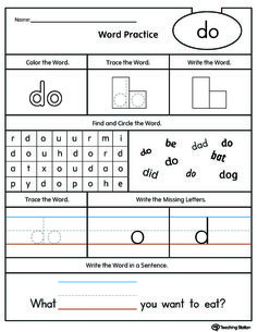 **FREE** High-Frequency Word DO Printable Worksheet Worksheet.Practice high-frequency word DO with this action pack printable worksheet. Your child will find, trace, and write the word DO in a sentence. Positional Words Kindergarten, Kindergarten Sight Words List, Kindergarten Writing Activities, Teaching Sight Words, Sight Word Practice, Literacy Skills, Kindergarten Addition, Listening Activities, Word Play