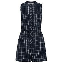 Buy Whistles Check Linen Playsuit, Navy Online at johnlewis.com