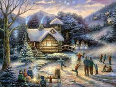 Choose your favorite christmas paintings from millions of available designs. All christmas paintings ship within 48 hours and include a money-back guarantee. Illustration Noel, Illustrations, Twilight Poster, Carolina Do Norte, North Carolina, Fine Art Amerika, Beautiful Landscape Paintings, Winter Szenen, Winter Christmas