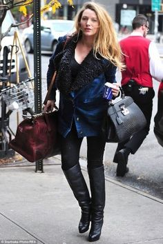 Blake Lively wearing Gucci Lady Lock Top Handle Bag, J Brand 3401 Maternity Legging in Pitch, Sandast Roy Travel Bag in Cognac and Loup Lou Jacket