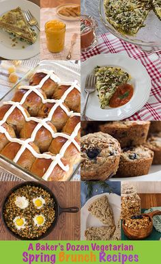 Delicious vegetarian recipe ideas for Spring Brunch menu. Includes Hot Cross Buns, Spinach and Goat Cheese Quiche, and Kale, Tempeh, and Potato Hash.