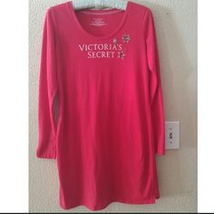 Victoria's secret red sleep shirt ??Cute Victoria's secret sleep shirt. Has little rhinestones on front. Super comfy and long sleeve.?? Victoria's Secret Intimates & Sleepwear Pajamas