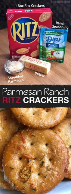 Zesty Baked Ritz Crackers -- SO GOOD! (made with butter, ranch seasoning mix and parmesan). These are a family favorite snack idea, the kids love them. They are also great for parties. Perfect served with cheese or deli meat. Snacks Für Party, Appetizers For Party, Meat Appetizers, Appetizer Recipes, Appetizer Ideas, Christmas Appetizers, Holiday Desserts, Holiday Baking, Holiday Recipes