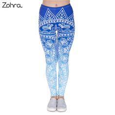 % ราคาไมแพง Zohra High Quality Women Legins Mandala Ombre Blue...