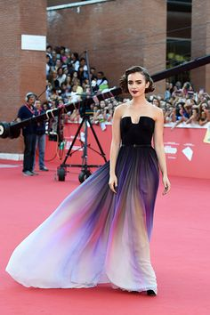 Lily Collins in Elie Saab.