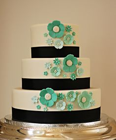 Teal and black wedding cake.    The Couture Cakery • Designer Cakes, Cupcakes, Dessert Table Designs in Central Pennsylvania