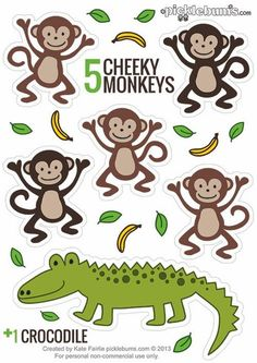 Puppets - Five Cheeky Monkeys. and a Crocodile Printable Puppets - Five Cheeky Monkeys. and a Crocodile! - Printable Puppets - Five Cheeky Monkeys. and a Crocodile! Flannel Board Stories, Felt Board Stories, Felt Stories, Preschool Jungle, Preschool Songs, Kids Songs, Toddler Activities, Activities For Kids, Rhyming Activities