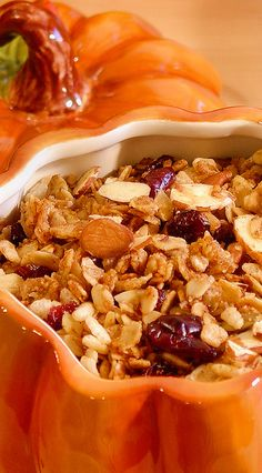 Made with coconut oil, pure maple syrup, coconut flakes, pepitas, sunflower seeds, almonds and pecans, warm spices, crisp rice cereal for added crunch and plump cranberries for the best in Fall flavors. Everyone will love this recipe! | autumn breakfast gluten free option