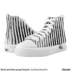 Black and white grunge Striped canvas sneakers