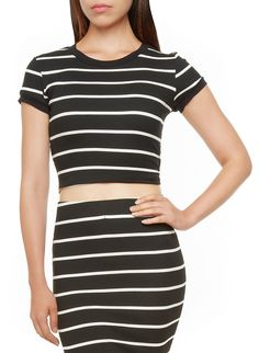 Rainbow Shops Striped Rib-Knit Crop Top $12.97