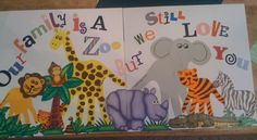 Made this for my Aunt/Uncle's anniverary book.   Giraffe and Elephant are my handprints and Lion and Tiger are Kersie's.