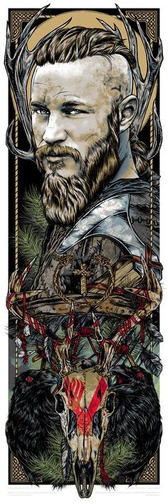 """Ragnar"" by Rhys Cooper. 12"" x 36"" 6-color Screenprint. Ed of 90 S/N. $50"