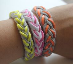 DIY Braided T-Shirt Bracelets | http://helloglow.co/diy-braided-t-shirt-bracelets/