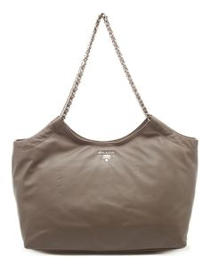 Prada Large Leather Chain Shopping Tote