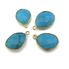 Bezel Gemstone Pendants Turquoise with Gold by LillysBeadBox