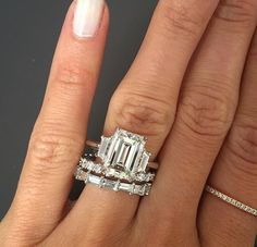 Picking a wedding band for this gorgeous Emerald cut 3 stone engagement Ring.would you pair it with the Round or Emerald cut style band? Emerald Cut Rings, Emerald Cut Diamonds, Diamond Cuts, Diamond Bands, Dream Engagement Rings, Emerald Cut Engagement, Emerald Cut Wedding Band, Dress Rings, Diamond Are A Girls Best Friend