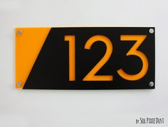 Modern House Numbers, Black with Yellow Acrylic - Contemporary Home Address -Sign Plaque - Door Number