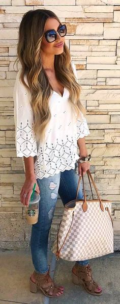 #summer #outfits White Blouse Ripped Skinny Jeans Gingham Tote Bag