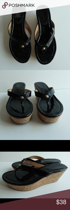 Coach Heeled Flip Flops Black paten leather flip flops with cork heel. Coach Shoes Sandals