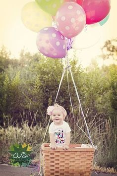 Hot air balloon photo shoot. Was such a cute idea to do for my daughters first birthday.