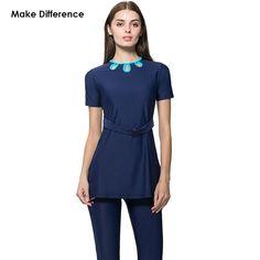 d226a8ccaf5e6 Make Difference Girls Muslim Swimwear Half Cover Modest Islamic Swimwear  for Women Surfing Suit Muslim Short