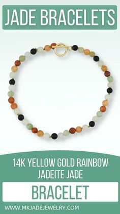 Multi-color Mason-Kay classic petit bead bracelet has a 14K yellow gold toggle clasp. This bracelet measures 7.5 inches long. Use discount code INSTA10JORDAN at checkout!