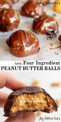 Peanut Butter Balls - Low Carb, Keto, Sugar-Free, Grain-Free, Gluten-Free, THM S. With just 4 ingredients these are perfect for your chocolate peanut butter craving! #lowcarb #keto #sugarfree #grainfree #glutenfree #chocolate #peanutbutter #chocolatepeanutbutter #nobake #thm #trimhealthymama