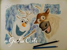 Drawn by me (Giulia Osti) Check out other creations on my blog! #illustration #frozen #sven #olaf #watercolor